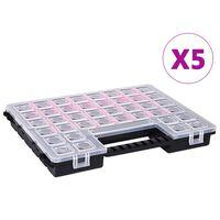vidaXL Organizery, 5 szt., z przestawnymi przegródkami, 385x283x50 mm