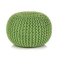 vidaXL Puf z ręcznie dzierganym pokryciem z bawełny, 50x35 cm, zielony