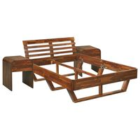 vidaXL Rama łóżka i 2 szafki nocne, lite drewno akacjowe, 140 x 200 cm