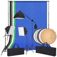 vidaXL Studio fotograficzne z softbox, tłami i blendą fotograficzną