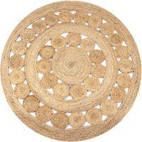 vidaXL Dywan pleciony z juty, 150 cm, okrągły