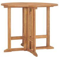vidaXL Składany stół ogrodowy, Ø90x75 cm, lite drewno tekowe