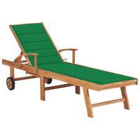 vidaXL Leżak z zieloną poduszką, lite drewno tekowe