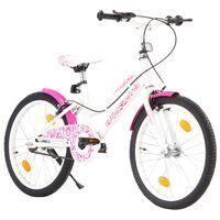 vidaXL Rower dla dzieci, 20 cali, różowo-biały