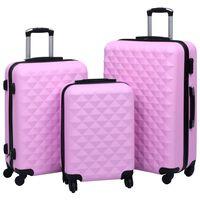vidaXL Zestaw twardych walizek na kółkach, 3 szt., różowy, ABS