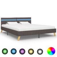 vidaXL Rama łóżka z LED, jasnoszara, tkanina, 180 x 200 cm