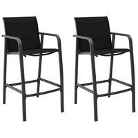 vidaXL Ogrodowe krzesła barowe, 2 szt., czarne, tworzywo textilene