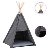 vidaXL Namiot tipi dla kota, z torbą, aksamitny, czarny, 40x40x70 cm