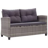 vidaXL 2-osobowa sofa ogrodowa z poduszkami, szara, 124 cm, rattan PE