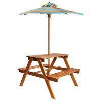 vidaXL Dziecięcy stolik piknikowy z parasolem 79x90x60 cm, lita akacja