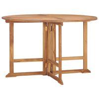vidaXL Składany stół ogrodowy, Ø120x75 cm, lite drewno tekowe