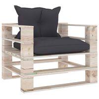 vidaXL Sofa ogrodowa z palet, antracytowe poduszki, drewno sosnowe