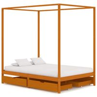 vidaXL Rama łóżka z baldachimem i 4 szufladami, sosna, 140 x 200 cm