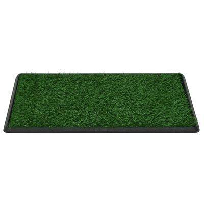 vidaXL Toaleta dla zwierząt z tacą i sztuczną trawą, zieleń, 76x51x3cm