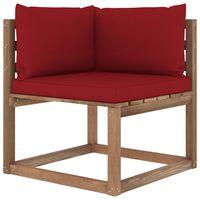 vidaXL Ogrodowa sofa narożna z palet, z poduszkami w kolorze wina
