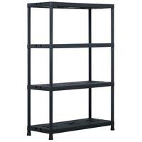 vidaXL Regał magazynowy, czarny, 220 kg, 90x40x138 cm, plastikowy