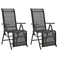 vidaXL Rozkładane krzesła ogrodowe, 2 szt., textilene i aluminium
