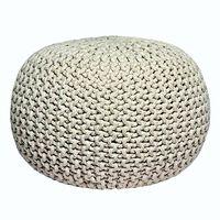 LABEL51 Puf wydziergany z bawełny, M, naturalny