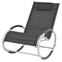 vidaXL Ogrodowy fotel bujany, czarny, textilene