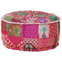 vidaXL Okrągły puf patchworkowy, ręcznie robiony, 40 x 20 cm, różowy