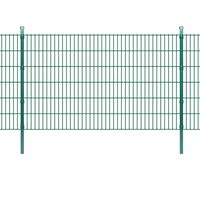 vidaXL 2D Panele i słupki ogrodzeniowe 2008x1230 mm 2 m zielone