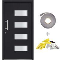 vidaXL Drzwi frontowe, aluminium i PVC, antracytowe, 110x210 cm
