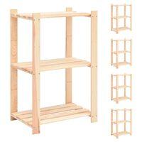 vidaXL Regały z 3 półkami, 5 szt., 60x38x90 cm, sosna, 150 kg