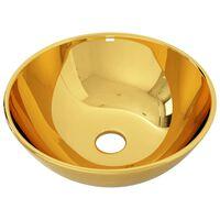 vidaXL Umywalka, 28 x 10 cm, ceramiczna, złota