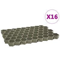 vidaXL Kratki trawnikowe, 16 szt., zielone, 60x40x3 cm, plastik