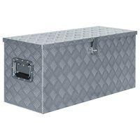 vidaXL Aluminiowa skrzynia, 90,5 x 35 x 40 cm, srebrna