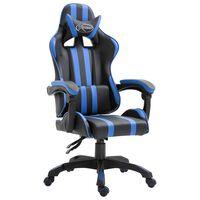 vidaXL Fotel dla gracza, niebieski, sztuczna skóra