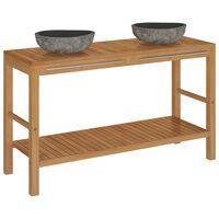 vidaXL Szafka łazienkowa z kamiennymi umywalkami, drewno tekowe