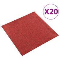vidaXL Podłogowe płytki dywanowe, 20 szt., 5 m², 50x50 cm, czerwone