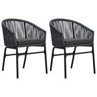 vidaXL Krzesła ogrodowe, 2 szt., antracytowe, rattan PVC