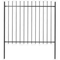 vidaXL Panel ogrodzeniowy z grotami, stal, 1,7 x 1,5 m, czarny
