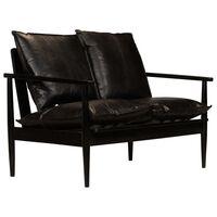 vidaXL 2-osobowa sofa z prawdziwej skóry i drewna akacjowego, czarna