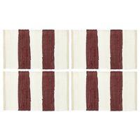 vidaXL Maty na stół, 4 szt, Chindi, paski, burgundowo-białe, 30x45 cm