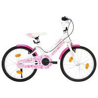 vidaXL Rower dla dzieci, 18 cali, różowo-biały