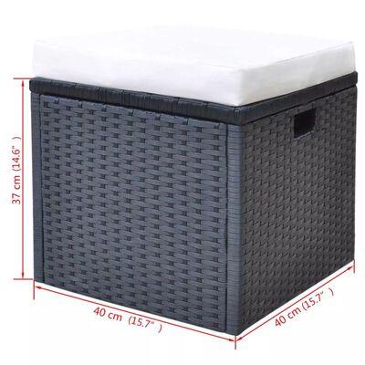 vidaXL 6-cz. zestaw mebli ogrodowych z poduszkami, rattan PE, czarny