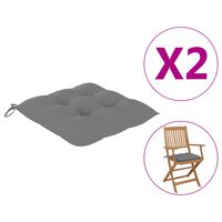 vidaXL Poduszki na krzesła, 2 szt., szare, 40x40x7 cm, tkanina