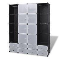 vidaXL Szafa modułowa, 18 przegród, czarno-biała, 37 x 146 x 180,5 cm