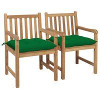 vidaXL Krzesła ogrodowe, 2 szt., zielone poduszki, lite drewno tekowe
