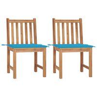 vidaXL Krzesła ogrodowe z poduszkami, 2 szt., lite drewno tekowe