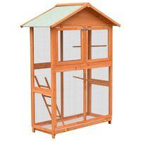 vidaXL Klatka dla ptaków, drewno sosnowe i jodłowe, 120x60x168 cm