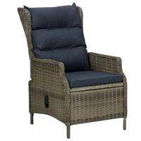 vidaXL Rozkładane krzesło ogrodowe z poduszkami, brązowy polirattan