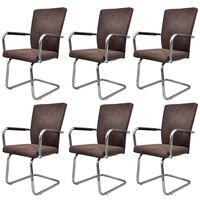 vidaXL Krzesła stołowe, wspornikowe, 6 szt., brązowe, sztuczna skóra