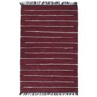 vidaXL Ręcznie tkany dywanik Chindi, bawełna, 160x230 cm, burgundowy