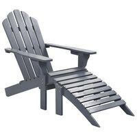 vidaXL Fotel ogrodowy z podnóżkiem, drewniany, szary