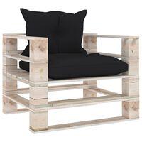 vidaXL Sofa ogrodowa z palet, z czarnymi poduszkami, drewno sosnowe