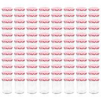 vidaXL Szklane słoiki na dżem, biało-czerwone pokrywki, 96 szt, 400 ml